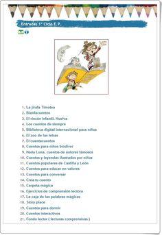 """La """"Biblio"""", del Colegio José Calderón de Málaga, para 1º y 2º niveles de Educación Primaria, da la oportunidad de acceder a cuentos, especialmente audiovisuales, y a sitios literarios que son útiles para particulares y para centros educativos. Esta recopilación supone una verdadera biblioteca digital para las edades de 6 a 7 años. Reading Stories, Spanish Classroom, Vocabulary, Digital, Children's Library, Primary Education, Storytelling, Dyslexia, Reading Comprehension"""