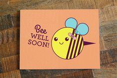 "Get Well Soon Card ""Bee Well Soon"" - Bee pun card, funny get well, cute card,. Diy Cards Get Well, Funny Get Well Cards, Feel Better Cards, Bee Puns, Dyi, Get Well Soon Gifts, Get Well Soon Funny, Pink Lila, Illustration Blume"