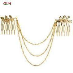 Envío Gratis Para Mujer de Personalidad Cadena de Tono de Oro de la Hoja Cuff Pelo Peine Pelo de La Venda Banda Caliente