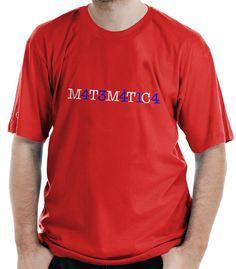 Camiseta Matemática, com a palavra escrita com números e letras.