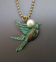 COWGIRL Bling Bird SWALLOW Turquoise Patina metal Pearl Western Gypsy NECKLACE #Unbranded #necklace