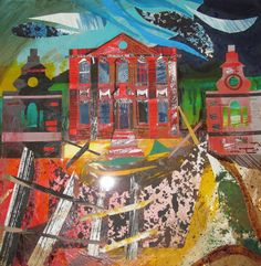 """Mavisbank"" by Ed Kluz from the ""Romantic Ruins"" series for Hornseys' Gallery (collage) Illustration Artists, Illustrations, Arts Ed, Historical Architecture, Romanticism, Linocut Prints, Inspiring Art, Timeline Photos, Art School"