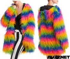 Weird & Wacky Fashion: Rainbow Fur Coat
