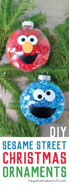 If your kids love Sesame Street, make these DIY Sesame Street Ornaments! They are a super easy Christmas craft and you'll love Elmo and Cookie Monster.
