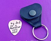 Personalized Guitar Pick, Hand Stamped Pick, Guitar Pick Case, Christmas Gifts, Leather Key Chain, Anniversary Gifts For Men, Grandpa, Dad
