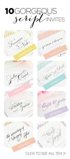 Top 10 Script Wedding Invitations http://www.shineweddinginvitations.com/blog/top-10-wedding-invitations-with-script/