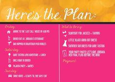 Printable Bachelorette Weekend Itinerary Birthday Weekend Girls - Party invitation template: bachelorette party itinerary template