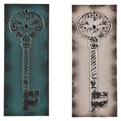 With a quirky charm, the Southern Enterprise Decorative Key Wall Sculpture somehow sets the stage for your sense of style. This wall art sculpture is actually two separate pieces of art that can be hung together or can be separated; they can also be placed with different orientations to really get an effect that is uniquely yours. The key inspired metal wall art masterpieces have an antiqued patina that softens the hard material and gives an touch of timelessness to your space. 2-pc. set.