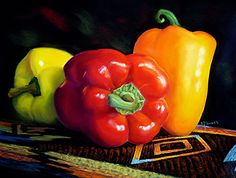 www.artistnetwork.com Red, Orange and Yellow Peppers. Pastel by-Karen Howard.