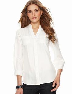 The Limited - Mandarin-Collar Split-V Blouse in Classic Off White #TheLimitedShirtEvent #TheLimitedNewShirtEvent