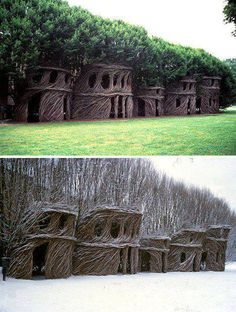 Patrick Dougherty forma árboles vivos en el asombroso de edificios de árbol naturales.
