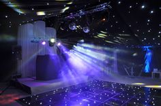 Evening reception lighting for the disco at a marquee wedding