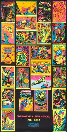 The Marvel Comics Black Light poster series as produced by Third Eye Inc. Poster Series, Movie Poster Art, Comic Books Art, Comic Art, Book Art, Marvel Masterworks, Black Light Posters, Silver Age, Bronze Age