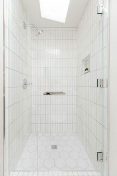 White bathroom tiles Grey Wall Project Spotlight Could Have That Black Tile Bathroomsbathroom Pinterest 104 Best White Bathroom Tile Images Bathroom Bathroom Modern