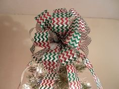 Large Christmas Tree topper bow red and green by creativelycarole