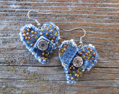 Earrings -Denim Dangle with Vintage Rhinestones and Hand-Beading- Recycled  and… How 853a621f29657