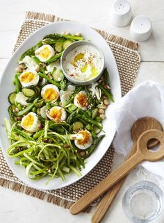 Shaved Asparagus and Chickpea Salad with Soft Eggs