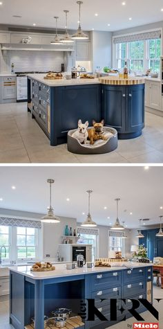 This Shaker style kitchen by Raycross Interiors is painted in two contrasting shades for a real design statement that catches the eye. The matching island and larder unit also helps to connect the two ends of the room Shaker Style Kitchens, Shaker Kitchen, Country Kitchens, Flat Interior, Interior Paint, Interior Decorating, Larder Unit, Kitchen Styling, Traditional Design