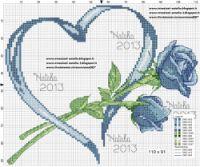amour - love - rose - coeur -  point de croix - cross stitch - Blog : http://broderiemimie44.canalblog.com/