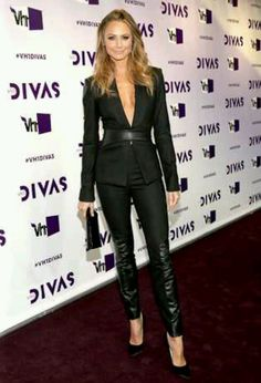 Leather pant suit| Stacy Keibler