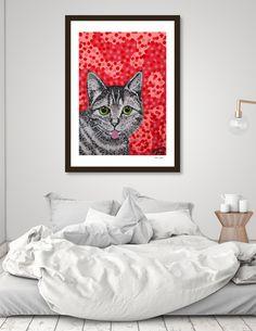 Cat Art Print, Small Cat, Red Art, Art Market, Cool Cats, Finland, Art Gallery, Dots, Tapestry