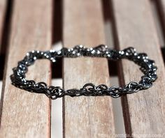 Chronos - Chainmaille mens bracelet oxidized blackened solid Sterling Silver. Handmade chainmail jewellery for Men by Arctida