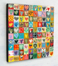 100 HEARTS, mixed media assemblage,