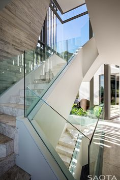 Welcome to Clifton an amazing house designed to impress you with the views, atmosphere and modern luxury architecture. Architecture Design, Architecture Interiors, Glass Stairs, Concrete Stairs, Stone Stairs, Glass Railing, Modern Stairs, Interior Decorating, Interior Design