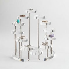 This tiered ring display stand has 12 platforms which are perfect for displaying rings. The display is clear and elegant. Ring Displays, Jewellery Displays, Shop Displays, Counter Display, Bracelet Display, Retail Interior, Jewelry Stand, Bird Cage, Retail Design