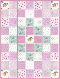 Care Bears~Quilt Kit~Precuts~Baby Girl~Infant~Nursery~Pink~Hearts~Butterfly~Rosebuds~Fabric~QK#29