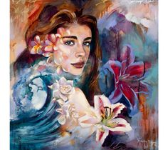 Deep Water Swell - an original tropical oil painting by Dimitra Milan that features a portrait of young girl among beautiful flowers and crashing waves.