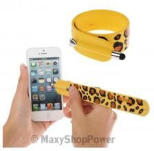 KTWO PENNINO CAPACITIVO STYLUS PEN BRACCIALE BRACCIALETTO PER CELLULARI E TABLET COLORE GIALLO YELLOW LEOPARDATO