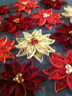 Set of 10 Quilled Poinsettia Ornaments by NaturalBornQuiller, $25.00