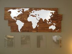 Recycled pallet wood and world stencil from amazon.