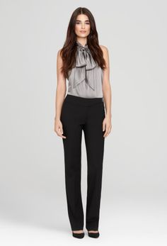Elie Tahari   black straight-leg trousers + silk tie blouse