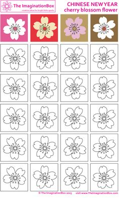 cherry blossom colouring page; possible branch art collage