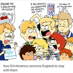 Hetalia - England xD >>> I WANTED TO BLOODY STAY IN THE EU BUT NOOO PEOPLE HAD TO LISTEN TO THAT STUPID FARAGE BLOKE OR WHATEVER HIS NAME IS AND LEAVE! PERSONALLY I WANT A REVOTE!
