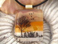 Dichroic Fused Glass Jewelry - Sunset Tree - Fused Dichroic Glass Pendant & Necklace