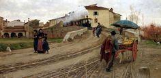 Adolfo Tommasi (Italian painter) 1851 - 1933 Petriolo presso Firenze (Petrilo near Florence), 1884 oil on canvas 99.5 x 201.5 cm. signed lower left Adolfo Tommasi private collection