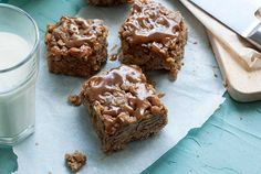 Caramel Apples combined with Oats and SunButter, and all packed into easy to make and easy to eat squares! This delicious recipe will become a favorite!