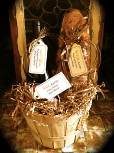 Housewarming gift....basket from Hobby Lobby, shredded fill from Dollar Tree, salt, bread and wine from local stores.