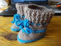 Babyschuhe gestrickt blau braun Wolle für Junge Slippers, Etsy, Fashion, Blue Brown, Wool, Get Tan, Guys, Tutorials, Kids