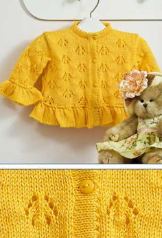 Lace baby jacket (knit with cr Baby Knitting Patterns, Knitting For Kids, Knitting Stitches, Baby Patterns, Free Knitting, Knitting Projects, Toddler Sweater, Knit Baby Sweaters, Knitted Baby Clothes