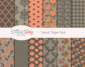 Scrapbook Digital paper pack orange pink green grey instant download printable commercial use - Jenna