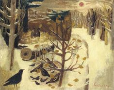 Mary Fedden, R.: 'Chiswick Park', 1956 (oil on canvas) Royal College Of Art, Naive Art, Moon Art, Winter Landscape, Chiswick Park, Urban Art, Cool Artwork, Landscape Paintings, Art Photography