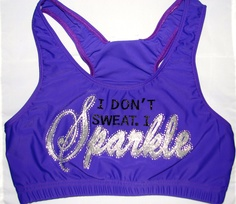 I Don't Sweat I Sparkle Cheer or Dance Sports Bra by Justcheerbows from Justcheerbows on Etsy. Cheer Outfits, Dance Outfits, Cheer Clothes, Party Outfits, Cheer Sports Bras, Cheer Bows, Cheerleading Shirts, Glitter Fashion, Neon Purple