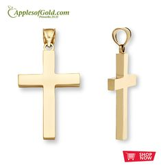 "Men's 14K Solid Gold Cross Pendant, from Apples of Gold Jewelry. This cross is fully solid and high quality. Perfect gift for Christian men.  Say it simply and say it with strength. That's the concept behind our men's 14k yellow gold cross pendant.  Measures 1 3/8"" tall by 1"" across and 2.9mm thick solid (1 11/16"" tall with hoop/bale).  Approx. 8.5 grams of guaranteed 14k solid yellow gold.  Available exclusively from Apples of Gold Jewelry®.  Purchase on web or toll free 800-349-7992. Christian Men, Christian Jewelry, Gold Rosary, Catholic Jewelry, Gold Polish, Gold Cross, Crucifix, Cross Pendant, Solid Gold"