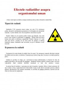 Referat: Efectele Radiatiilor asupra Organismului Uman (#285750) - Graduo Biology