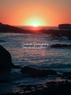 sunset photography, beach photography, orange peach blue gold sun, waves crashing ocean sea water rocks, california, fall, 8x10
