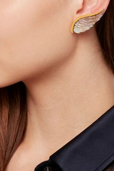 Noor Fares | Wing 18-karat gold labradorite earrings | NET-A-PORTER.COM
